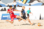AL ARAIMI Mandhar Hilal Hamed of Oman competes for the ball with GOTO Takasuke of Japan during the Beach Soccer Men's Team Gold Medal Match between Japan and Oman on Day Nine of the 5th Asian Beach Games 2016 at Bien Dong Park on 02 October 2016, in Danang, Vietnam. Photo by Marcio Machado / Power Sport Images
