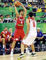 Kosarka Basketball<br /> World Basketball Championship Spain 2014<br /> Srbija v Iran<br /> Milos Teodosic (L) and Arsalan Kazemi<br /> Granada. 09.01.2014.<br /> foto: Starsportphoto.com©
