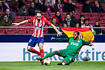 Juan Francisco Torres Belen, Juanfran, of Atletico de Madrid fights for the ball with Manuel Fernandes of FC Lokomotiv Moscow during the UEFA Europa League 2017-18 Round of 16 (1st leg) match between Atletico de Madrid and FC Lokomotiv Moscow at Wanda Metropolitano  on March 08 2018 in Madrid, Spain. Photo by Diego Souto / Power Sport Images