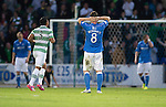 St Johnstone v Celtic...13.08.14  SPFL<br /> Gary McDonald holds his head after Steven Anderson's mistake gifted Celtic the first goal<br /> Picture by Graeme Hart.<br /> Copyright Perthshire Picture Agency<br /> Tel: 01738 623350  Mobile: 07990 594431