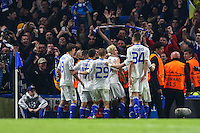 Aleksandar Dragovic of Dynamo Kyiv celebrates scoring his team's first goal against Chelsea to make it 1-1 during the UEFA Champions League Group match between Chelsea and Dynamo Kyiv at Stamford Bridge, London, England on 4 November 2015. Photo by David Horn.