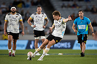 3rd April 2021; Eden Park, Auckland, New Zealand;  Hurricanes fullback Jordie Barrett kicks a penalty during the Super Rugby Aotearoa rugby match between the Blues and the Hurricanes held at Eden Park, Auckland, New Zealand.