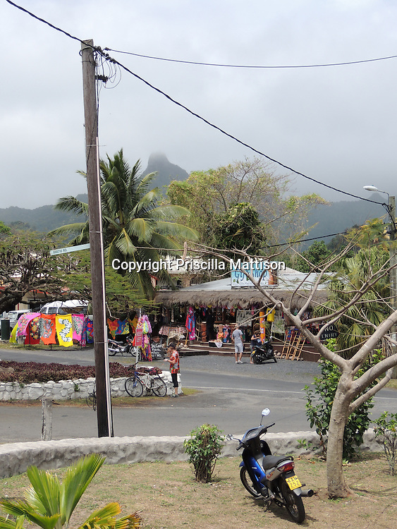 Rarotonga, Cook Islands - September 21, 2012:  Activity on Ara Tapu, the main road.