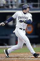 Ryan Klesko of the San Diego Padres bats during a 2002 MLB season game at Qualcomm Stadium, in San Diego, California. (Larry Goren/Four Seam Images)