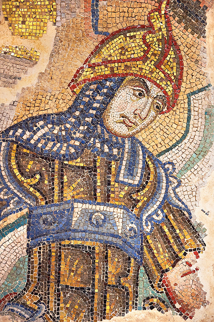 """Mosaic of soldiers killing children from the 14th century """" Slaughter of the Innocents"""" from the east wall of the ante baptistery. Basilica San Marco ( St Mark's Basilica ) Venice, Italy"""