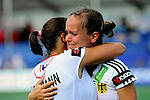 The Hague, Netherlands, June 08: Jana Teschke #4 of Germany is hugged by Tina Bachmann #2 of Germany after the field hockey group match (Women - Group B) between USA and Germany on June 8, 2014 during the World Cup 2014 at GreenFields Stadium in The Hague, Netherlands. Final score 4-1 (1-0) (Photo by Dirk Markgraf / www.265-images.com) *** Local caption ***