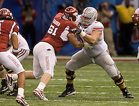 Justin Boren of Ohio State in action against Arkansas during 77th Annual Allstate Sugar Bowl Classic at Louisiana Superdome in New Orleans, Louisiana on January 4th, 2011.  Ohio State defeated Arkansas, 31-26.