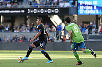 SAN JOSE, CA - SEPTEMBER 29: Nick Lima #24 of the San Jose Earthquakes during a Major League Soccer (MLS) match between the San Jose Earthquakes and the Seattle Sounders on September 29, 2019 at Avaya Stadium in San Jose, California.