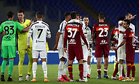 Football, Serie A: AS Roma - Juventus, Olympic stadium, Rome, September 27, 2020. <br /> Roma's players greet Juventus players at the end of the Italian Serie A football match between Roma and Juventus (2-2) at Olympic stadium in Rome, on September 27, 2020. <br /> UPDATE IMAGES PRESS/Isabella Bonotto