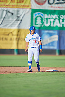 Luis Paz (13) of the Ogden Raptors takes a lead during the game against the Orem Owlz in Pioneer League action at Lindquist Field on June 27, 2017 in Ogden, Utah. Ogden defeated Orem 14-5. (Stephen Smith/Four Seam Images)