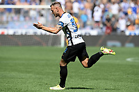 Federico Dimarco of FC Internazionale celebrates after scoring the goal of 0-1 during the Serie A football match between UC Sampdoria and FC Internazionale at stadio Marassi in Genova (Italy), September 12th, 2021. Photo Image Sport / Insidefoto