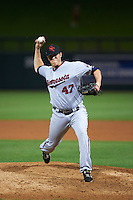 Scottsdale Scorpions pitcher Trevor Hildenberger (47) delivers a pitch during an Arizona Fall League game against the Salt River Rafters on October 13, 2015 at Salt River Fields at Talking Stick in Scottsdale, Arizona.  Salt River defeated Scottsdale 5-3.  (Mike Janes/Four Seam Images)