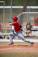 St. Louis Cardinals Tommy Edman (3) bats during a minor league Spring Training game against the Washington Nationals on March 27, 2017 at the Roger Dean Stadium Complex in Jupiter, Florida.  (Mike Janes/Four Seam Images)