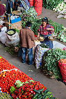 Chichicastenango, Guatemala.  Buying and Selling Potatoes in the Indoor Market. Quiche (K'iche')  Ethnic Group.
