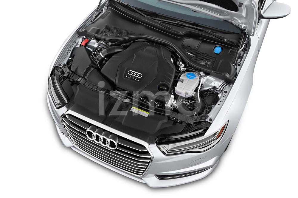 Car stock 2016 Audi A6  TDI quattro tiptronic Prestige  4 Door Sedan engine high angle detail view