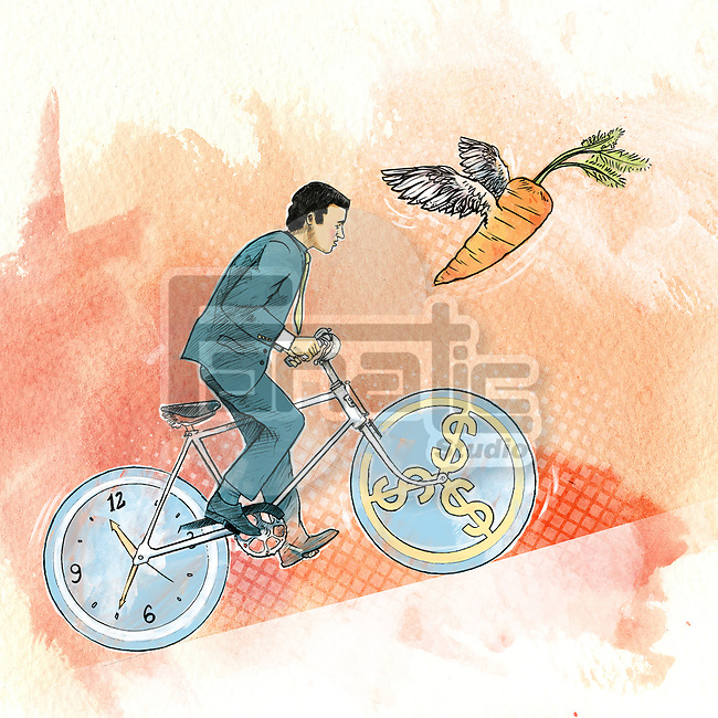 Man cycling with wheels as clock and dollar signs representing money and time management
