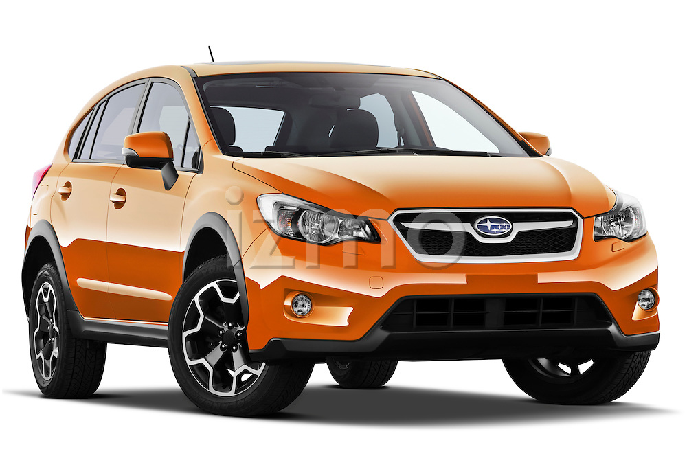 Low aggressive passenger side front three quarter view of a 2012 Subaru XV Executive SUV
