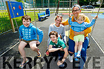 Ethan, Callum, Tara and Sheena Sexton and Harley James Enright Sexton from Listowel enjoying the afternoon in the playground in Listowel on Monday.