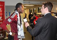 Macouma Kandji#10 is interviewed at MLS Cup 2010 at BMO Stadium in Toronto, Ontario on November 21 2010. Colorado won 2-1 in overtime.