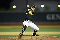 Wake Forest Demon Deacons relief pitcher Bobby Hearn (34) in action against the Illinois Fighting Illini at David F. Couch Ballpark on February 16, 2019 in  Winston-Salem, North Carolina.  The Fighting Illini defeated the Demon Deacons 5-2. (Brian Westerholt/Four Seam Images)