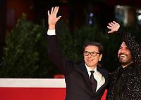 Italian artistic director of the Rome Fest Antonio Monda (L) and Italian singer Giuliano Sangiorgi (R)pose on the red carpet for the opening night of the 16th International Rome Film Fest (Festa del Cinema di Roma) on October 14, 2021 at the Auditorium Parco della Musica in Rome.<br /> UPDATE IMAGES PRESS/Isabella Bonotto