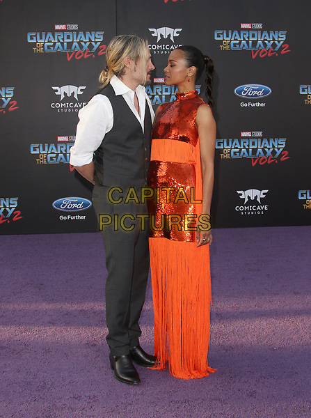 """HOLLYWOOD, CA - April 19: Zoe Saldana, Marco Perego, At Premiere Of Disney And Marvel's """"Guardians Of The Galaxy Vol. 2"""" At The Dolby Theatre  In California on April 19, 2017. <br /> CAP/MPI/FS<br /> ©FS/MPI/Capital Pictures"""