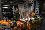 A greengrocer in the alleyways of Naples in Italy