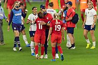 ORLANDO CITY, FL - FEBRUARY 18: USWNT head coach Vlatko Andonovski embraces Desiree Scott #11 during a game between Canada and USWNT at Exploria stadium on February 18, 2021 in Orlando City, Florida.