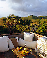 The viewing platform and sundeck of the Rhino Suite overlooking the Galana River and Yatta Escarpment