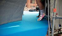 most bling shoes in the peloton, courtesy of Adam Blythe (GBR/Orica-GreenEDGE)<br /> <br /> 58th E3 Harelbeke 2015