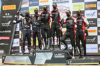 23rd May 2021; Felgueiras, Porto, Portugal; WRC Rally of Portugal, stages SS16-SS20;  Elfyn Evans and co-driver Scott Martin -Toyota Yaris WRC wins the Rally and on the podium