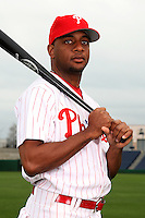 February 24, 2010:  Outfielder Ben Francisco (10) of the Philadelphia Phillies poses during photo day at Bright House Field in Clearwater, FL.  Photo By Mike Janes/Four Seam Images