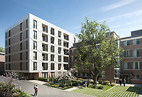 BNPS.co.uk (01202) 558833. <br /> Pic: Savills/BNPS<br /> <br /> Pictured: Hornsey Town Hall exterior. <br /> <br /> Apartments in the grounds of an iconic 1930s building where Queen first appeared in concert and the TV series Whitechapel was filmed, have gone on sale.<br /> <br /> The new owners will live alongside Hornsey Town Hall, which has appeared in a string of movies and TV series including The Crown and Killing Eve.<br /> <br /> Rock band Queen performed their first concert there in 1971 as a supporting band and part of the 2018 film Bohemian Rhapsody starring Rami Malek was made there.<br /> <br /> The flats, which start from £505,000, are part of the development of the iconic modernist building in Crouch End, North London.