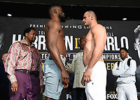 """ONTARIO - DECEMBER 20:  Efe Ajabra and Iago Kiladze at the weigh in for the December 21 fight on the Fox Sports PBC """"Harrison v Charlo"""" on December 20, 2019 in Ontario, California. (Photo by Frank Micelotta/Fox Sports/PictureGroup)"""