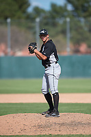 Chicago White Sox relief pitcher Devan Watts (39) gets ready to deliver a pitch during an Instructional League game against the Oakland Athletics at Lew Wolff Training Complex on October 5, 2018 in Mesa, Arizona. (Zachary Lucy/Four Seam Images)