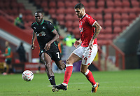 Ryan Inniss of Charlton Athletic under pressure by Frank Nouble of Plymouth Argyle during Charlton Athletic vs Plymouth Argyle, Emirates FA Cup Football at The Valley on 7th November 2020