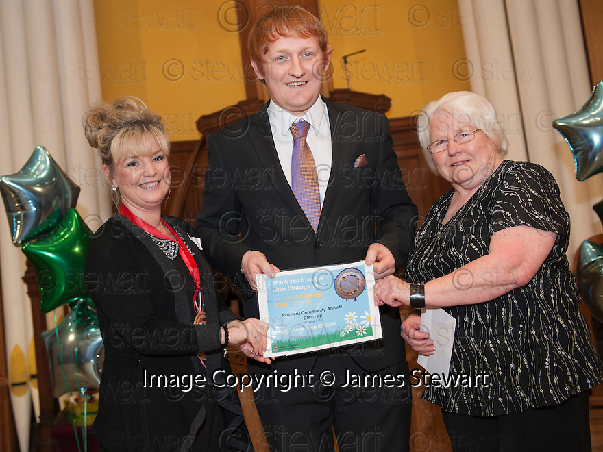 """Litter Strategy Awards 2013 : Councillor Craig R Martin presents the """"Nothing's Gonna Stop Us Now"""" award to Polmont Community Annual Clean Up."""