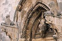 Europe/Croatie/Dalmatie/ Ile de Korcula/ Korcula: Porte d'entrée de la cathédrale Saint-Marc