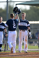 UW-Stout Blue Devils Nick Nalbach (2) is greeted at home by Kasey Kruse (3) after hitting a home run during the first game of a doubleheader against the Edgewood Eagles on March 16, 2015 at Lee County Player Development Complex in Fort Myers, Florida.  UW-Stout defeated Edgewood 6-1.  (Mike Janes/Four Seam Images)
