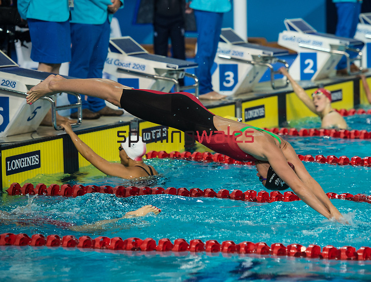 Wales Jazz Carlin in action during the Womans 4x100m freestyle team relay<br /> <br /> *This image must be credited to Ian Cook Sportingwales and can only be used in conjunction with this event only*<br /> <br /> 21st Commonwealth Games - Swimming - Day 3 - 07\04\2018 - Gold Coast Optus Aquatic centre - Gold Coast City - Australia