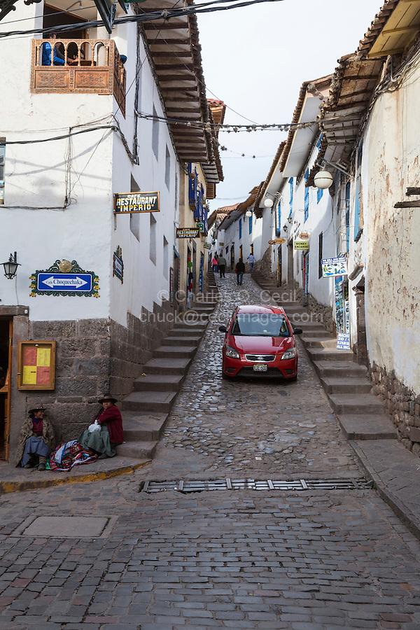 Peru, Cusco.  Street Scene.