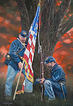 """Two Union soldiers remember their fallen friend after the Civil War battle of Gettysburg in Pennsylvania, 1863. Oil on canvas, 26 """" x 18""""."""