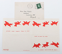 BNPS.co.uk (01202) 558833. <br /> Pic: C&TAuctions/BNPS<br /> <br /> Pictured: A christmas card sent by Flight Sergeant Eric Redfern to Joan. <br /> <br /> The poignant archive of a tragic Battle of Britain hero has been discovered in a suitcase.<br /> <br /> Flight Sergeant Eric Redfern had been married to Joan Preston for a few weeks when he was shot down and killed in 1941.<br /> <br /> The 27 year old Hurricane pilot was ambushed by German fighters during a raid on enemy supply vessels at Le Touquet in northern France.