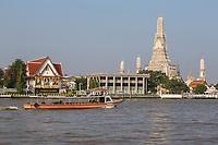 Bangkok, Thailand.  Wat Arun and the Chao Phraya River, Early Morning.