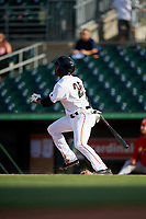 Jupiter Hammerheads designated hitter Anfernee Seymour (26) follows through on a swing during a game against the Palm Beach Cardinals on August 4, 2018 at Roger Dean Chevrolet Stadium in Jupiter, Florida.  Palm Beach defeated Jupiter 7-6.  (Mike Janes/Four Seam Images)