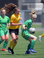 Action from the 2019 National Age Group Tournament Under-16 Girls football match between Capital and Central at Memorial Park in Petone, Wellington, New Zealand on Friday, 13 December 2019. Photo: Dave Lintott / lintottphoto.co.nz