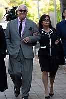 Roger Stone, former campaign adviser to United States President Donald J. Trump, left, and his wife Nydia Stone, right, arrive to federal court in Washington D.C., U.S., on Tuesday, November 5, 2019.  Credit: Stefani Reynolds / CNP /MediaPunch