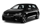 2017 Volkswagen Golf R 5 Door Hatchback angular front stock photos of front three quarter view