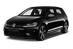 2017 Volkswagen Golf R 5 Door Hatchback angular front stock photos of front three quarter view