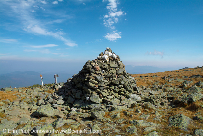 Hiking on the Gulfside Trail (Appalachian Trail) approaching Thunderstorm Junction in the Presidential Range in the New Hampshire White Mountains. Haze fills the sky in the background. This is how the rock pile looked in 2006.
